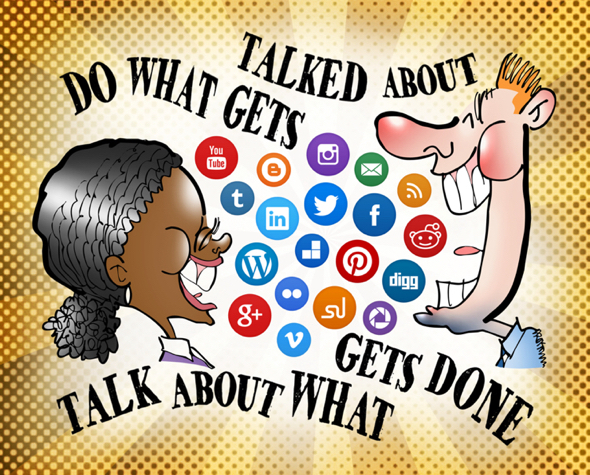 man woman talking in social media platform icons do what gets talked about talk about what gets done June 30th Social Media Day