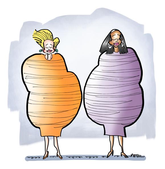 Two models wearing lumpy bumpy dresses by fashion designer Rei Kawakubo