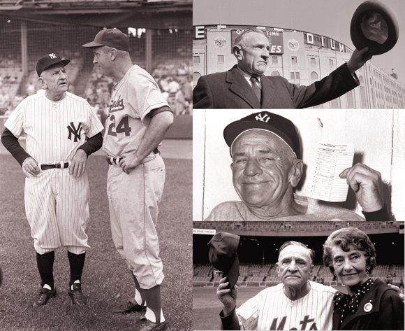 Baseball Hall of Fame Casey Stengel talking with Dodgers manager Walter Alston outside old Yankee Stadium with lineup card as Mets manager with wife Edna