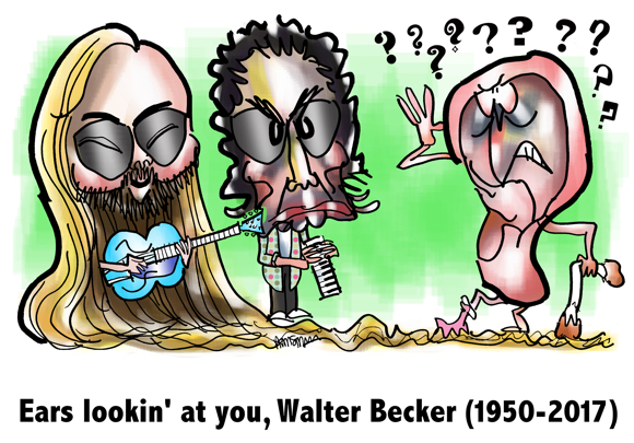 Caricatures Walter Becker Donald Fagan Steely Dan jazz rock band guitar keyboards human ear using waxy Q-tip for cane