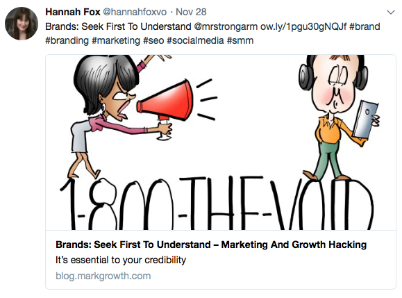 Hannah Fox British voice over artist retweet of Mark Armstrong post Brands seek first to understand essential to your credibility