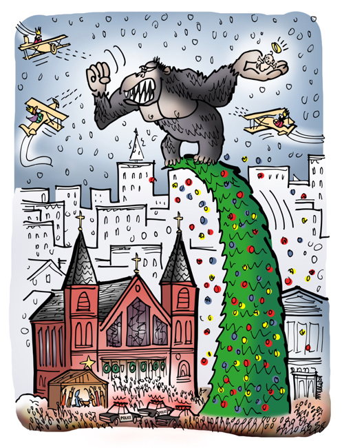 Christmas card design King Kong steals Baby Jesus from creche manger scene front church climbs tree Magi three kings trying to shoot him down in airplanes like famous movie scene