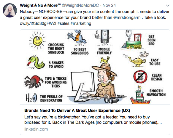 Lori Boxer Weight No More tweet nobody NO-BOD-EE creates better visual content oomph than illustrator Mark Armstrong