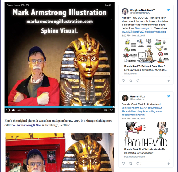 Screenshot of Mark Armstrong Illustration blog showing embedded tweets in sidebar
