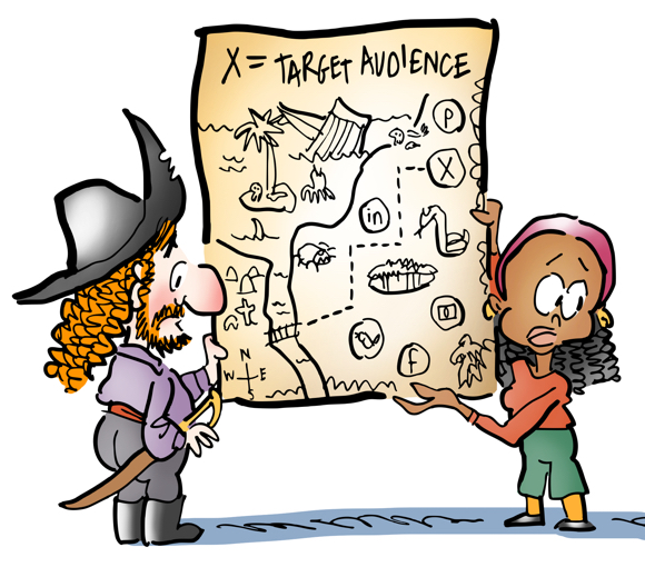 Content marketing plan as pirate treasure map x marks the target audience