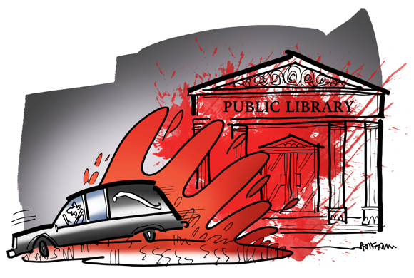 rumpus illustration undertaker father disapproves daughter's reading Stephen King drives hearse through puddle splattering public library with blood as in famous Carrie movie scene