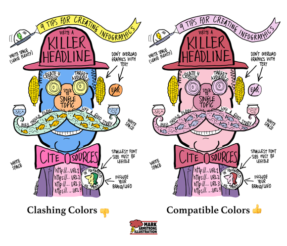Infographic color scheme palette compare should have compatible colors not clashing
