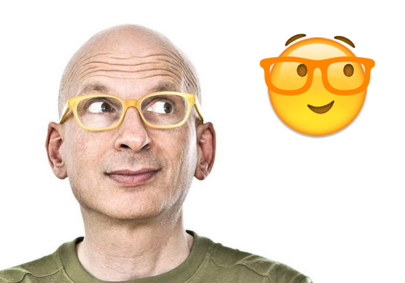 Seth Godin face as emoji with big eyeglasses