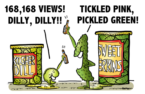 "parody of Bud Light ""Dilly Dilly"" television commercial dill pickle gherkin toasting each other with beer celebrating blog post views tickled pink pickled green"