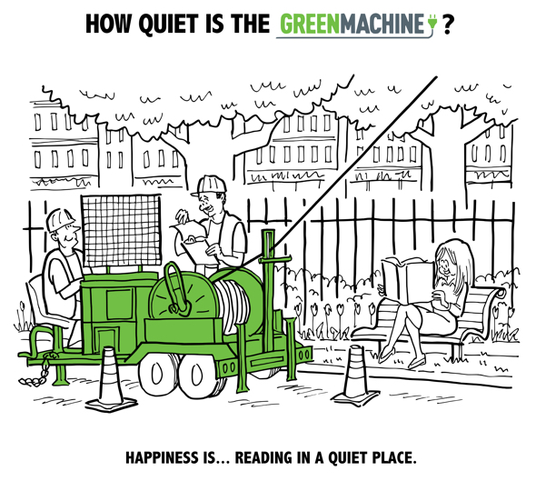 Square 2 Marketing TSE International Green Machine electric-powered puller tensioner string cables eco-friendly so quiet can read book nearby park bench