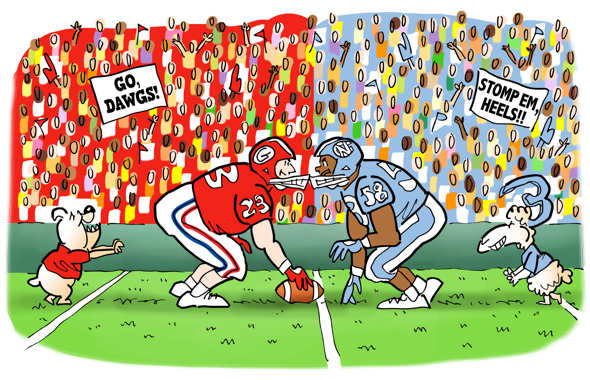header illustration 2016 Chick-fil-A college football kickoff game quiz Georgia Bulldogs vs. North Carolina Tar Heels line scrimmage crowd stadium mascots dawg ram