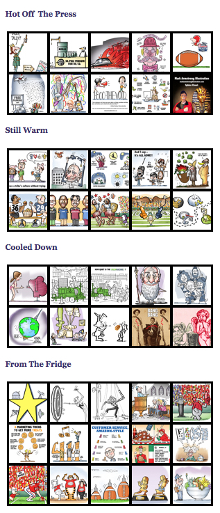 Mark Armstrong Illustration WordPress blog updated new portfolio thumbnails table grid in sidebar