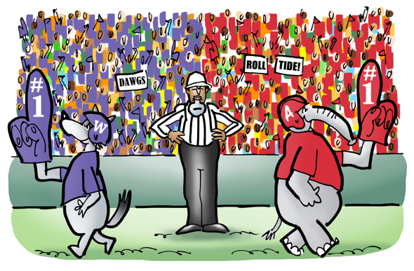 header illustration Chick-fil-A 2016 Peach Bowl quiz U Washington Huskies vs. Alabama Crimson Tide dog elephant referee duel with #1 fan gloves