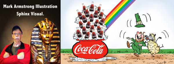 how I work page header image Mark Armstrong Illustration sphinx visual plus leprechaun sheep St. Patrick's Day Coca-Cola at end of rainbow