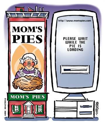 traditional brick mortar store Mom's Pies on left online store website on computer right please wait while pie is loading