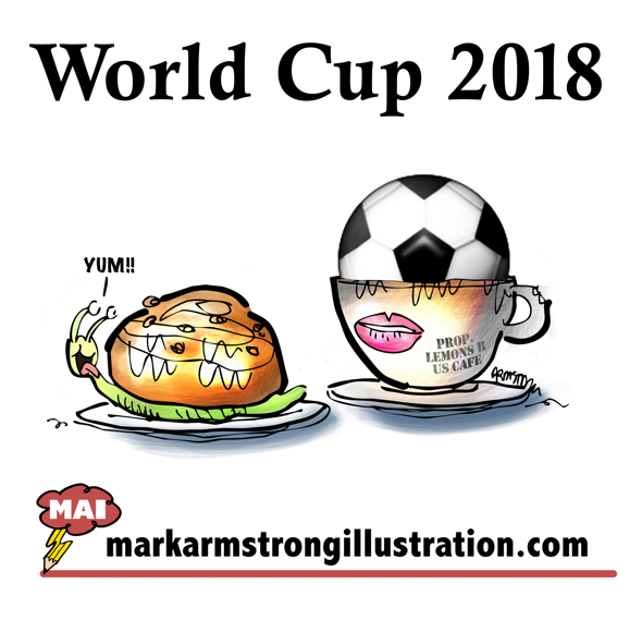World Cup 2018 soccer ball in coffee cup cinnamon bun on top of snail gobble gastropod