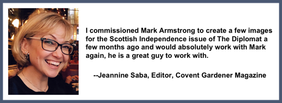 Recommendation testimonial for Mark Armstrong Illustration from Jeannine Saba editor covent gardener magazine