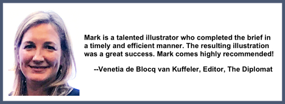 Recommendation testimonial for Mark Armstrong Illustration from Venetia de Blocq van Kuffeler editor The Diploma