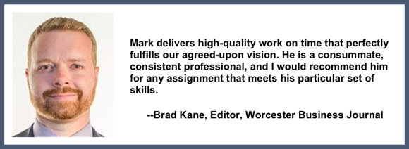 Recommendation testimonial for Mark Armstrong Illustration from Brad Kane editor Worcester Business Journal