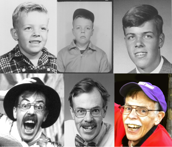 Composite photo 6 photos of Mark Armstrong illustrator from baby picture to present day