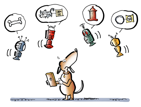 Dog with smartphone eCommerce online shopping surrounded by AI bots popups suggesting things to buy