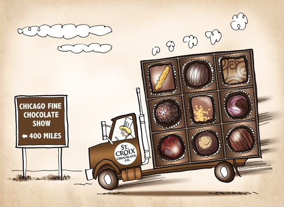 St. Croix Chocolate Company driving truckload of chocolates to Chicago trade show