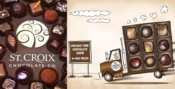 comparison photo of St. Croix Chocolate Company logo chocolates vs. illustration truck being driven to big Chicago chocolate trade show