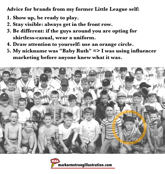 Advice for brands from my former Little League self old baseball group photo Cooperstown NY with illustrator Mark Armstrong in front row