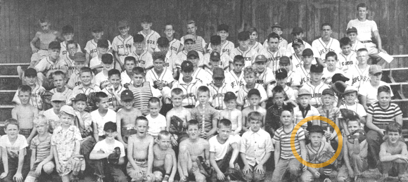 Old Little League baseball group photo Cooperstown NY with illustrator Mark Armstrong in front row