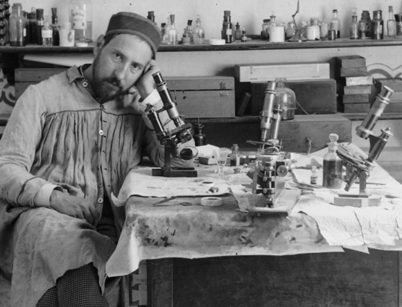 self portrait taken by Spanish neuroscience pioneer Santiago Ramon y Cajal his mid-thirties in lab circa 1885