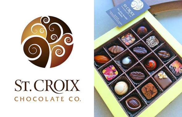 St. Croix Chocolate Company logo 16-piece gift box fancy chocolates