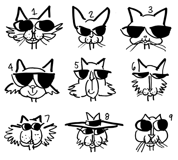 9 cat face sketches roughs for book illustrations Freddy Nager Copyediting with attitude