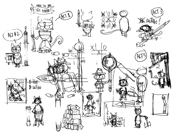 rough thumbnail sketches cat illustrations different poses with pencil for copyediting book by Freddy Nager