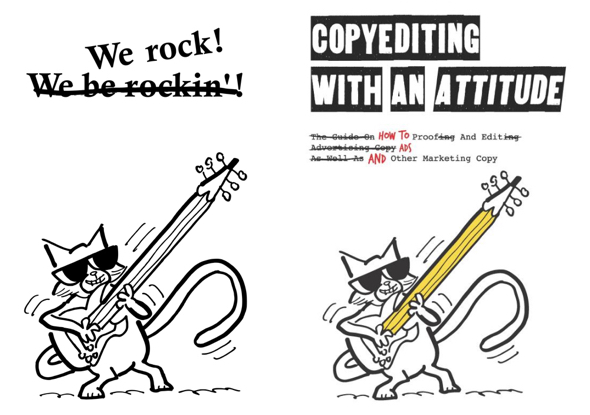 cat playing pencil guitar illustration we rock active voice cover for copyeding book Freddy Nager