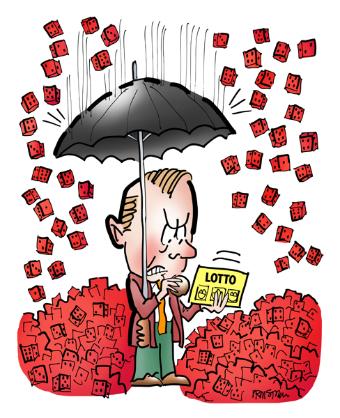 man with umbrella scratching lottery ticket red dice chance raining down piling up on ground