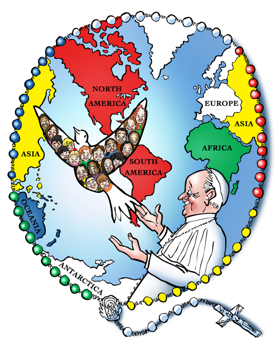 Missionary Childhood Association campaign poster Pope Francis releasing dove Holy Spirit kids helping kids globe world map rosary crucifix