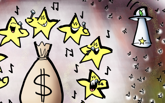 detail image: stars in space singing around a huge sack of money superstars dominating Billboard Chart because of too much choice spaceman in flying saucer shining spotlight on smaller star