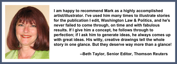 Recommendation testimonial for Mark Armstrong Illustration from Beth Taylor, senior editor, Thomson Reuters