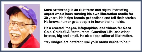 headshot short bio for illustrator Mark Armstrong 30 years experience helps brands get noticed also does editorial my images different like your brand needs to be