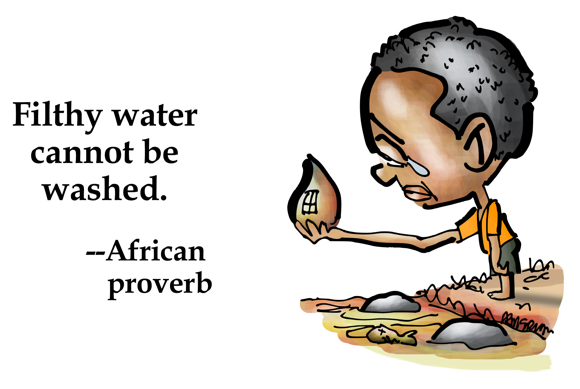 Little African boy standing by polluted water holding dirty water drop crying tear Filthy water cannot be washed African proverb