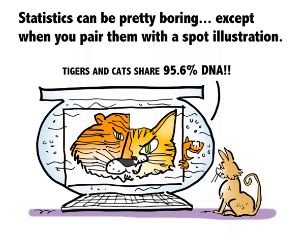 statistics can be boring except when you pair them with spot illustration cat fishbowl tigers cats share 96% DNA