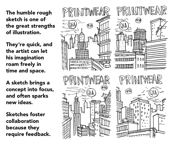 rough sketches bring concepts into focus spark new ideas foster collaboration because require feedback Printwear cover cityscape Bat signal gotham motif