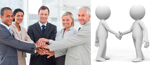 stock photo bland generic corporate people blobs shaking hands