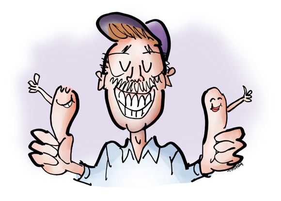 Illustrator Mark Armstrong caricature cartoon character two thumbs up with thumbs also giving thumbs-up