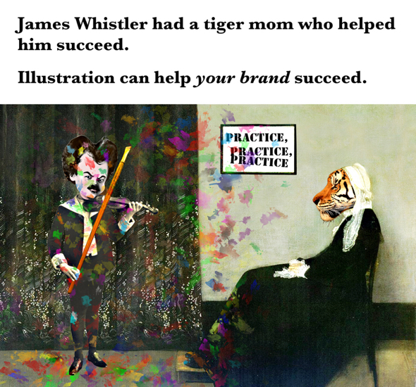 Whistler's Mother parody James playing violin with paint brush tiger mom helped him succeed illustration will help your brand succeed