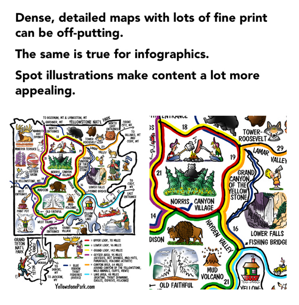dense detailed maps with much fine print are off-putting same for infographics spot illustrations make content more appealing cartoon map of Yellowstone National Park
