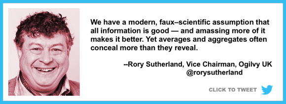 we assume all information is good amassing more makes it better but averages aggregates often conceal more than they reveal Rory Sutherland Vice Chairman Ogilvy UK