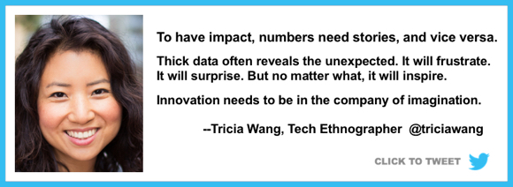 numbers need stories vice versa thick data will frustrate surprise but inspire innovation requires imagination Tricia Wang tech ethnographer