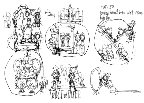 thumbnail sketches for Prince Pauper illustration for Children's Stage Adventures