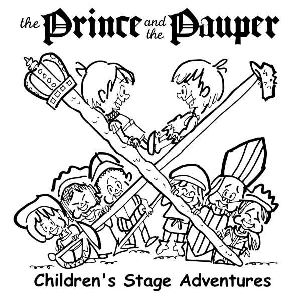 rough sketch Prince Pauper illustration two lookalike boys facing each other on crossed sword walking stick with court servants soldiers bishop below final illustration